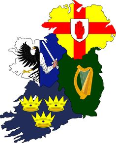 Four Green Fields - Leinster, Munster, Connacht and Ulster - four diverse provinces, each one with something new to discover and thousands of years old of history. Irish Language, Old Irish, Dublin City, Family Crest, Medieval Castle, Ireland Travel, Galway Ireland, Coat Of Arms, Ireland