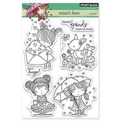 Penny Black-T for Transparent Clear Stamps. These clear stamps are easy to use with any acrylic block (not included), and feature high- quality and affordable value. This package contains Mimi's Love: a set of six clear stamps on one 6-1/2x5 inch backing sheet. Made in USA.