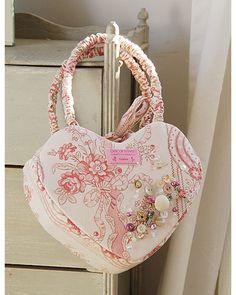 Heart-shaped handbag, hand made using vintage French fabrics.