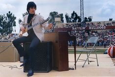 Keith Richards on stage with Brian Jones' Gibson Firebird in Fresno, California on May 22, 1965.