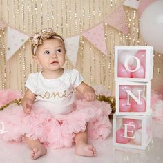 1st Birthday Decorations Box Kit - 3Pcs White Transparent Square Baby Shower Boxes ONE for Girl Boy