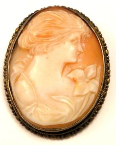 Antique Carved Shell Cameo Lady w Orchid Flower Pin Brooch Silver Frame | eBay