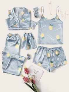 To find out about the Pineapple Print Satin Pajama Set at SHEIN, part of our latest Night Sets ready to shop online today! Cute Pajama Sets, Cute Pjs, Cute Pajamas, Pajamas Women, Pyjama Sets, Satin Pyjama Set, Satin Pajamas, Pyjamas, Cute Lazy Outfits