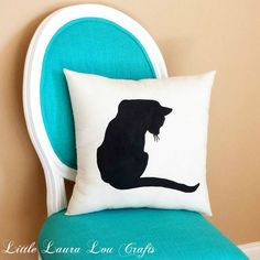 Cat Silhouette Throw Pillow, Home Decor, Dorm Decor, Cat Decor, Cat Lover Gift, Cat Pillow, Christmas Gift, Gift for Her, Gift for Mom