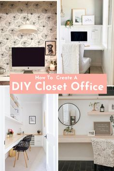 Create a small home office with my selection of DIY clofffice ideas. Renovate your bedroom closet or any small closet in your home with a DIY built-in desk. Not very handy, use Ikea furniture to create an office space with a desk, shelves, and doors. Glamourize to your cloffice with motivational quotes, colorful wall decor, and unique home accessories. Click the link to find inspiration on home office ideas for small spaces. #smallspaces #smallbedroom #ikeahacks#diycloset #closetmakeover Ikea Furniture, Furniture Projects, Diy Projects, Diy Bedroom Decor, Diy Home Decor, Wall Decor, Small Apartment Decorating, Decorating Your Home, Office Ideas