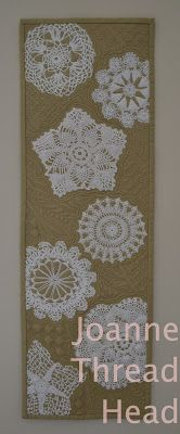 """Finally, an idea that uses doilies. I like doing that as well, so this would be really cool done on a blue background, or really dark blue. Thread Head: """"Design It, Quilt It"""" Online Class Framed Doilies, Lace Doilies, Quilting Projects, Quilting Designs, Sewing Projects, Small Quilts, Mini Quilts, Doily Art, Doilies Crafts"""