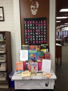 My latest book display -exercise your brain at the library.