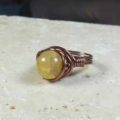 wire wrapped ring  amber fire agate stone by MySoulCanDance