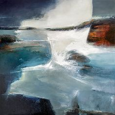Artwork. 'Defiance I' Abstract Oil Painting on board. 61cms x 61cms. First in a defiance series. Depicting the struggle, both current and timeless, of our coastline against the relentless storms that appear to gain strength year on year.