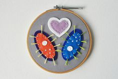 Parameciums in Love - Embroidery Hoop Art (whatnomints) Tags: art love embroidery biology paramecium valentinesday