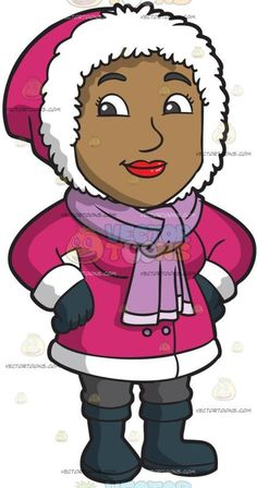 A Pretty Black Woman Wearing Winter Clothes:   A black woman wearing a pink with white hooded winter jacket purple with white scarf gray pants dark bluish gray mittens and gloves smiles while placing her hands on her hips