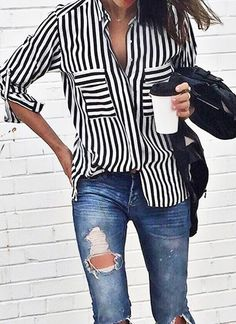 What to Wear This Weekend: Striped Shirt, Ripped Jeans
