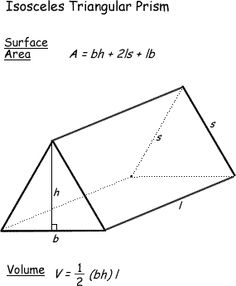 Know The Surface, Area, and Volume Formulas for Geometric Shapes: Surface Area and Volume of a Isosceles Triangular Prism