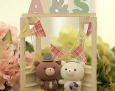 bear Wedding Cake Topper-love polar beark920 by kikuike on Etsy