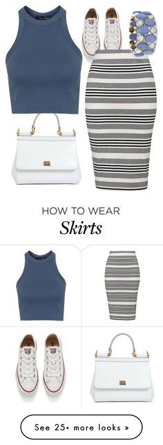 """""""Striped Skirt"""" by paperninja42 on Polyvore featuring Converse, Dolce&Gabbana, Topshop and Chico's"""