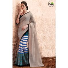 Lovely rusty grey blue and white color printeed saree with blouse - Online Shopping for Designer Sarees by Saree Swarg