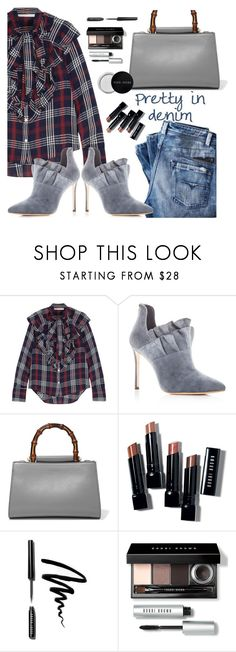 """""""It's a Denim Kind of Day"""" by juliehooper ❤ liked on Polyvore featuring Veronica Beard, Pour La Victoire, Gucci and Bobbi Brown Cosmetics"""