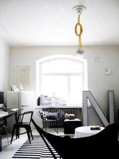 Black & white funky living room.
