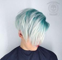 Cool aqua green hair color
