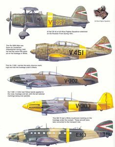 Hungarian Air Force - Axis Period and Markings. Click this image to show the full-size version.