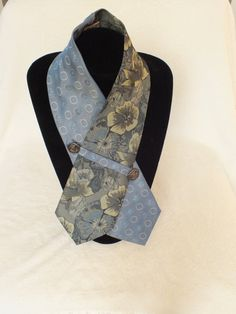 OOAK Unique Blue Grey Silk Neckwear, Ladies Scarflettes, Trendy collar for Women Upcycled from Vintage Neckties