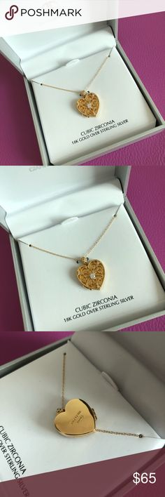 Giani Bernini Heart Necklace 🌷Please Read the description and review all photos! Thanks!🌷  Brand new with tag. Bought it as a gift for my friend, but I gave her something else in stead.  Retail: $100 Color: gold  Cubic zirconia  18k gold over sterling silver Color may be slightly different bcz of lighting  🌈💯AUTHENTIC 🌈All sales are final 🚭Smoke & Pet free home 🙅NO TRADES  🙅NO HOLDS Giani Bernini Jewelry Necklaces
