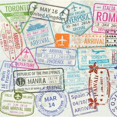 Vintage World Map with Passport Stamps Comforters by LinaCatDesigns