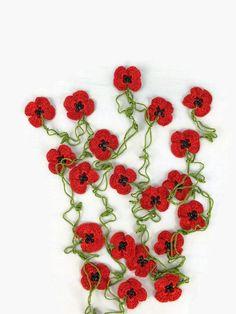 Red  Poppy  Necklace Boho Crochet Red Poppy Flower by Nakkashe