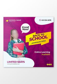 Back to school admission marketing template for social media post#pikbest# Media Web, School Admissions, School Opening, Web Banner Design, Powerpoint Word, Social Media Design, Banner Template, Back To School, Templates