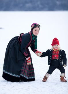 National Costumes from Telemark County, Norway Folk Costume, Costumes, Folklore, Folk Fashion, Culture, My Heritage, Mother And Child, Christmas Traditions, Traditional Dresses