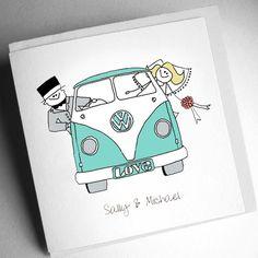 Campervan Wedding Invitation (Folded) [CWS000001] - £2.75 : Cool Wedding Stationery, The Coolest Wedding Stationery