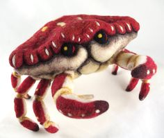 """Needle Felt Crab by ~FeltedChicken :: """"...sculpted of 100% Romney Wool, over an upholstery foam base. He has sturdy, posable armature wire in all his legs. All the wool was hand-colored using non-toxic dyes, & his shadows and highlights were painted on using permanent fabric paint. """""""