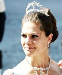 Crown princess Victoria, wearing the tiara she inherited from Princes Lilian.