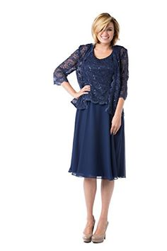 RM Richards Sequin Lace Dress and Jacket with Chiffon Skirt Navy Size 16     8d8c33614