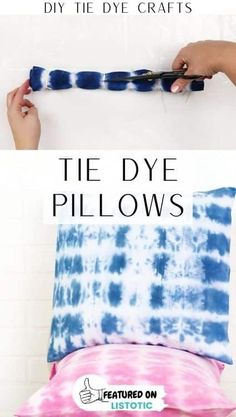 These tie dye pillows are the perfect addition to any room! Click on the pin to see this and more easy DIY tie dye crafts featured over on Listotic. Assisted Living Activities, Nursing Home Activities, Tie Dye Shoes, How To Dye Shoes, Easy Diy Tie Dye, Tie Dye Kit, Tie Dye Crafts, Adult Crafts, Easy Projects