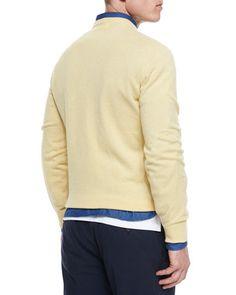 N3DW6 Brunello Cucinelli Cashmere V-Neck Sweater, Yellow