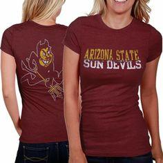 uk availability da1d1 96381 My U Arizona State Sun Devils Literality Slim Fit Ladies T-Shirt - Maroon  University