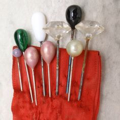 Lot of 9 Stick Pins or Short Hat Pins by WorldsAttic on Etsy