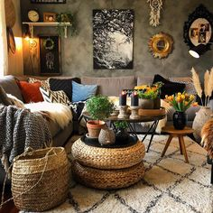 Boho Living Room, Home And Living, Living Room Decor, Bedroom Decor, Deco Boheme, Cozy House, Apartment Living, Decoration, Home Decor Inspiration