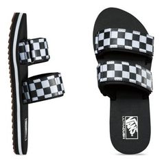 85b1d9ef559435 The all new Checkerboard Cayucas Slide features synthetic leather straps  with the iconic checkerboard print and