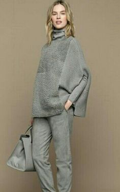 monochrome all grey outfit Knit Fashion, Womens Fashion, Grey Outfit, Autumn Winter Fashion, Winter Fashion Outfits, Italian Fashion, Minimal Fashion, Slow Fashion, Pullover