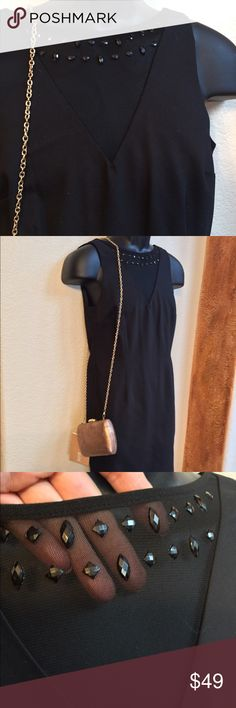 """NWOT! """"PHILOSOPHY"""" LITTLE BLACK DRESS! Never worn classy, elegant and sexy dress! Mesh detailed on the neckline with bead details. Low back opening. zippered and 35"""" long. Size Small fiting sized 2 to 4 and possibly a 6. Fits up to a 34D bust. A Must have!!! Philosophy Dresses Midi"""