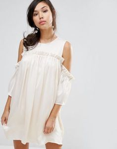 3ff11b78c6 Fashion Union Cold Shoulder Dress With Frill