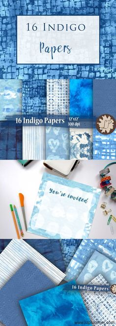 16 printable indigo papers.  There are tie dye patterns, batik style patterns, squares, circles, hand painted hearts, great for texture or backgrounds or your graphic design needs.  Why not use them for stationery borders, branding or packaging? Or for sc