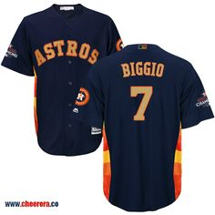 Astros 7 Craig Biggio Navy Gold Program Cool Base Jersey