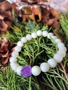 """Jade and amethyst for intuition, soothing of the spirit and in service of a gentle and free spirited life. Being in nature is such a gift - relish in it, share it and remember... To be free, unconstrained, limitless. To let go and live your truth. """"What will you do with this one wild and precious life"""