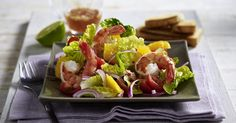 The best Prawn and orange salad recipe you will ever find. Welcome to RecipesPlus, your premier destination for delicious and dreamy food inspiration. Prawn Recipes, Orange Salad, Fish Sauce, Lemon Grass, Cherry Tomatoes, Lettuce, Food Inspiration, Seafood, Salad