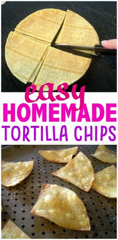 Homemade Tortilla Chips in 15 minutes! – Make the Best of Everything Homemade Tortilla Chips in 15 minutes! Homemade Chips, Homemade Crackers, Homemade Tortillas, Homemade Desserts, Homemade Tortilla Chips Baked, Mexican Food Recipes, Snack Recipes, Snacks, Vegetarian Recipes