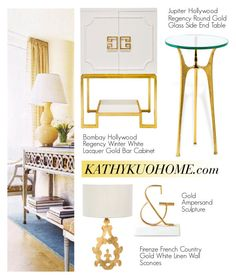 """""""Gold Decor Items"""" by kathykuohome ❤ liked on Polyvore featuring interior, interiors, interior design, home, home decor, interior decorating, Home, homedecor, homedesign and homeset"""