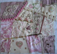 I ❤ crazy quilting & ribbon embroidery . . . Solange A. : 1st crazy quilt, almost done. ~By Et Brode Le Papillon, (Anne Nicolas-Whitney)